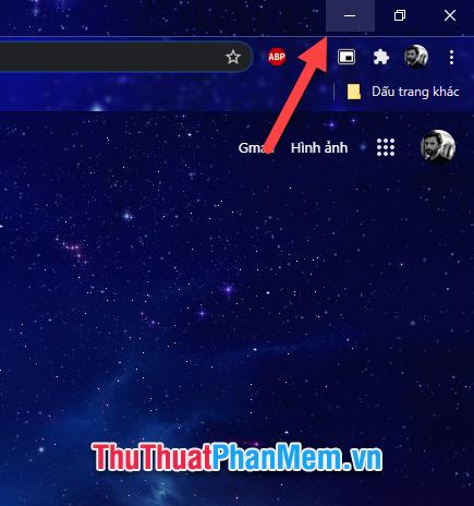 Thu nhỏ cửa sổ bằng việc click biểu tượng Minimize ở góc trái ô cửa sổ