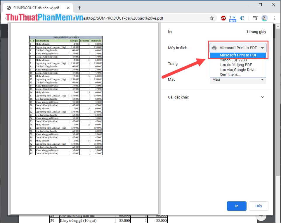 Bạn cần thay đổi Máy in đích thành Microsoft Print to PDF và sau đó các bạn chọn In
