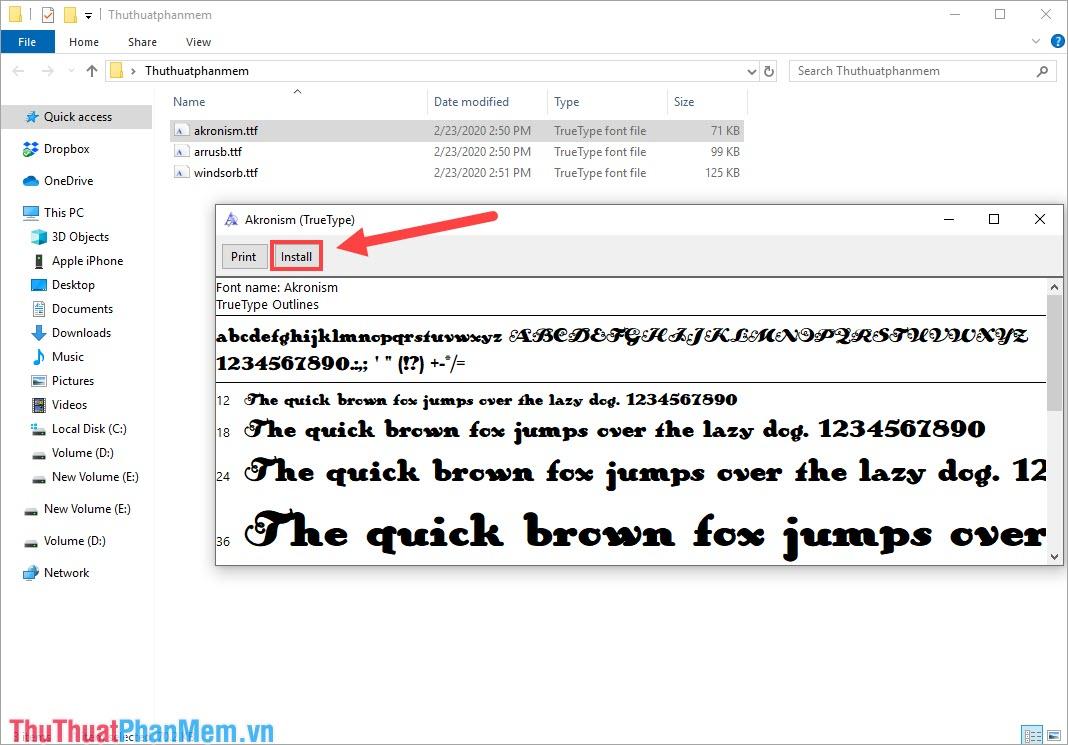 Bạn nhấn đúp chuột vào các Font chữ để xem chúng và nhấn Install để cài đặt