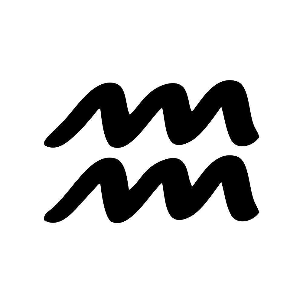 Biểu tượng logo của cung Bảo Bình đen trắng đẹp