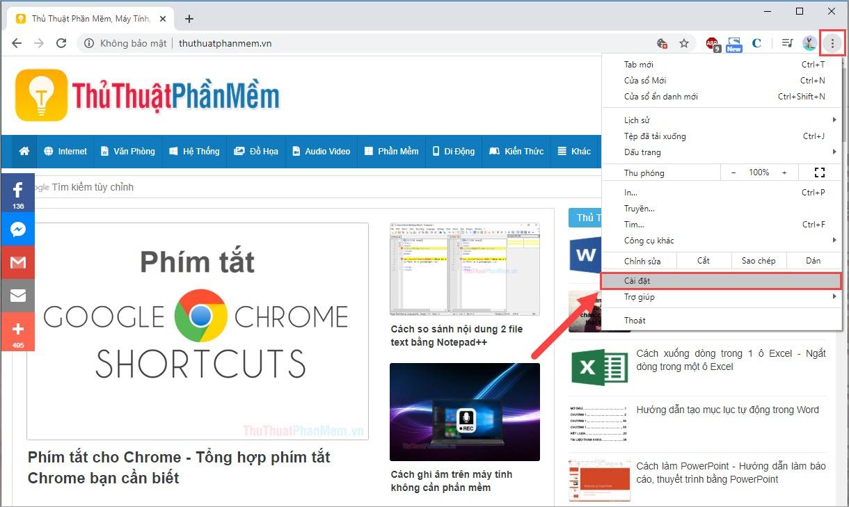 Chọn biểu tượng Thiết lập (ba chấm) và tìm tới Cài đặt trên Google Chrome