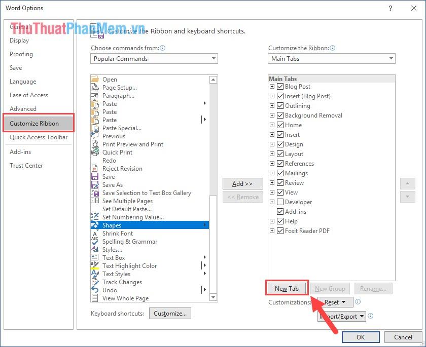 Chọn thẻ Customize Ribbon và nhấn vào New Tab để tạo thẻ công cụ mới trên phần mềm