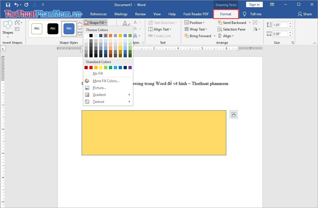 Chọn thẻ Format để đổi màu cho hình học hoặc thay đổi các thuộc tính của hình đó