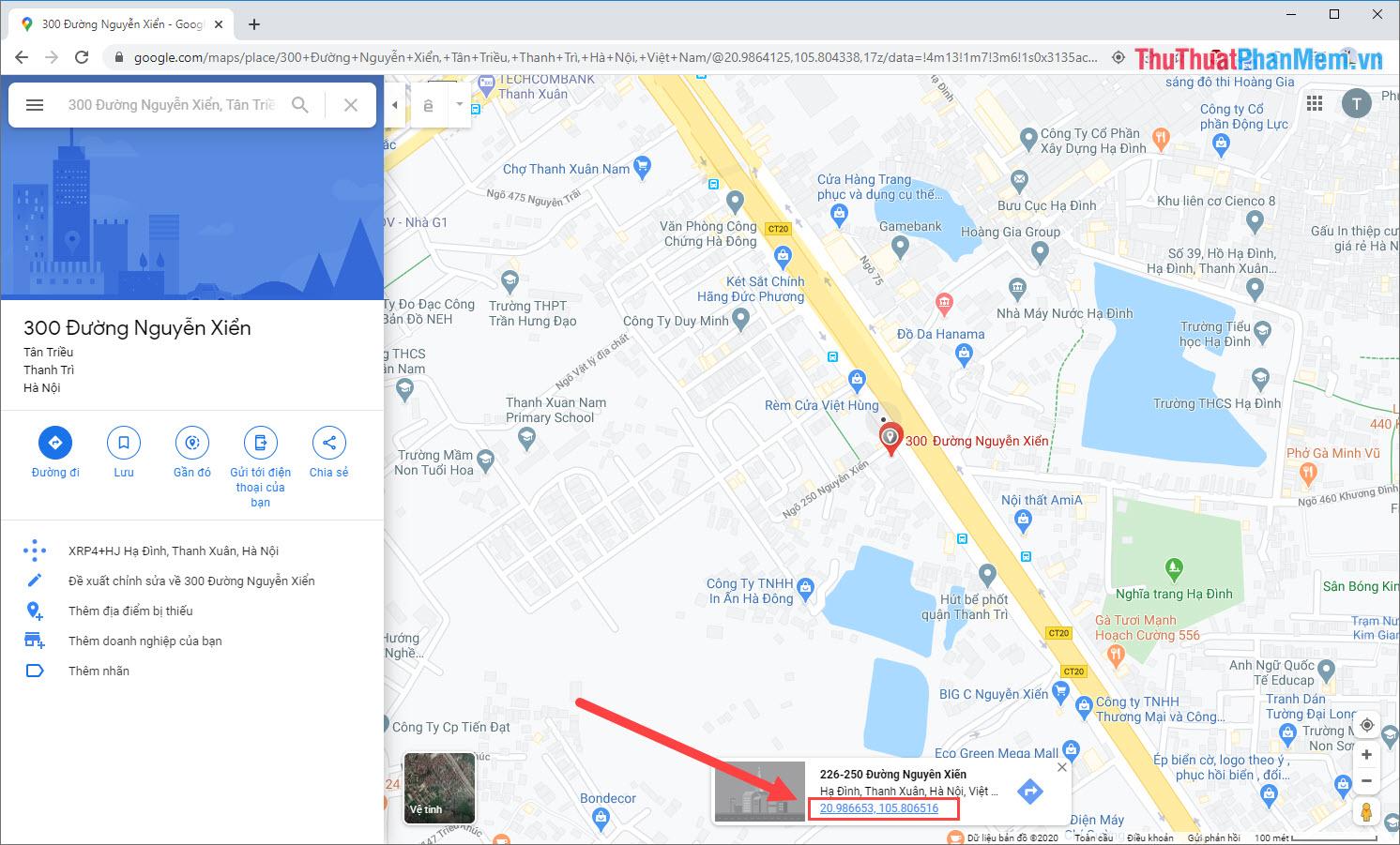 Click chuột vào hệ tọa độ của địa điểm trên Google Map