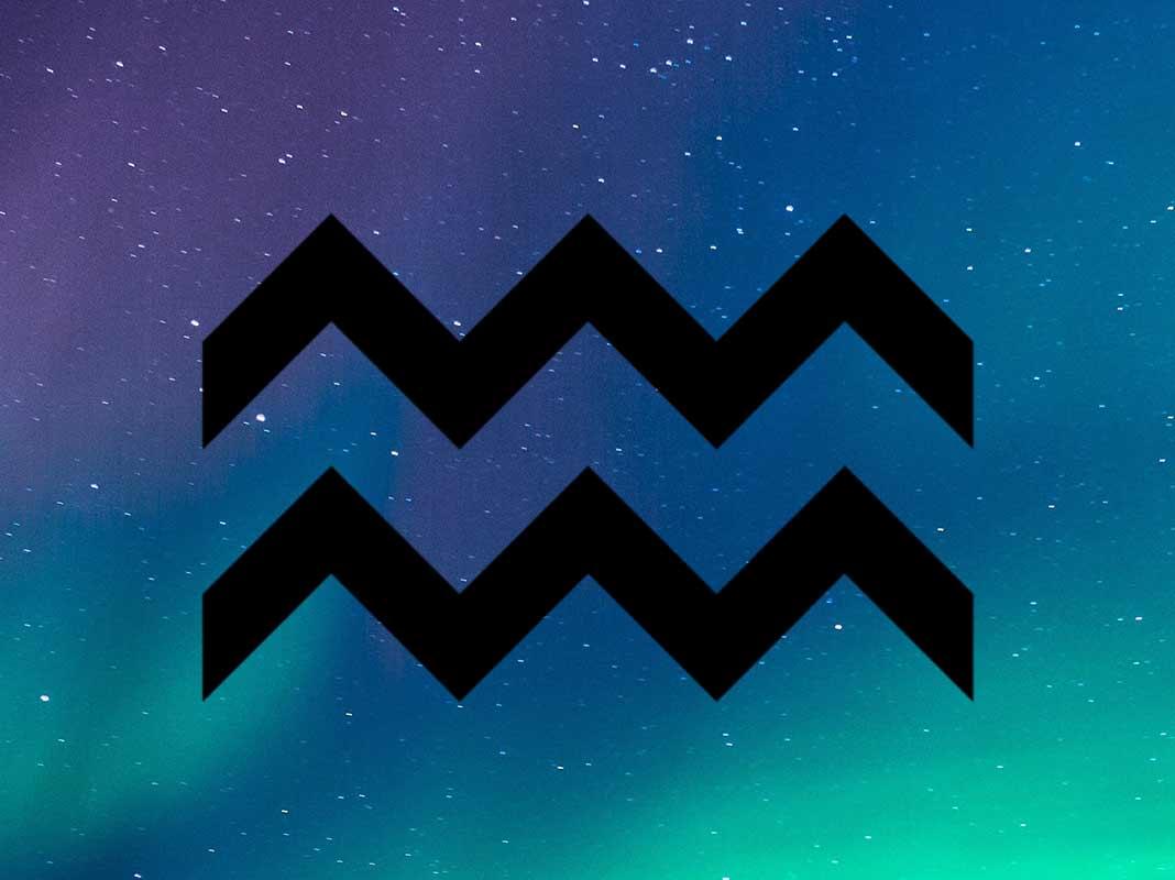 Hình ảnh biểu tượng chòm sao Bảo Bình trên nền galaxy màu sắc