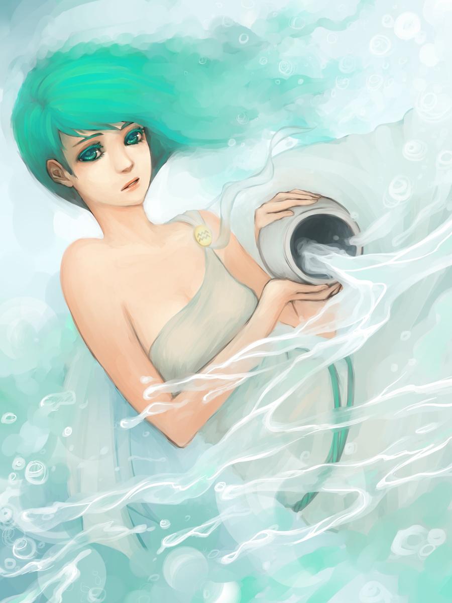 Hình ảnh cô gái Bảo Bình tóc xanh