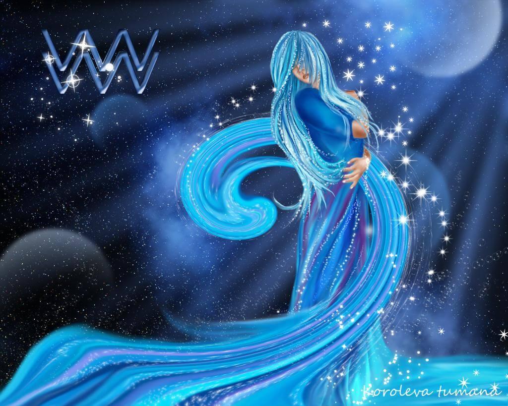 Hình ảnh cô gái xanh Bảo Bình rất đẹp