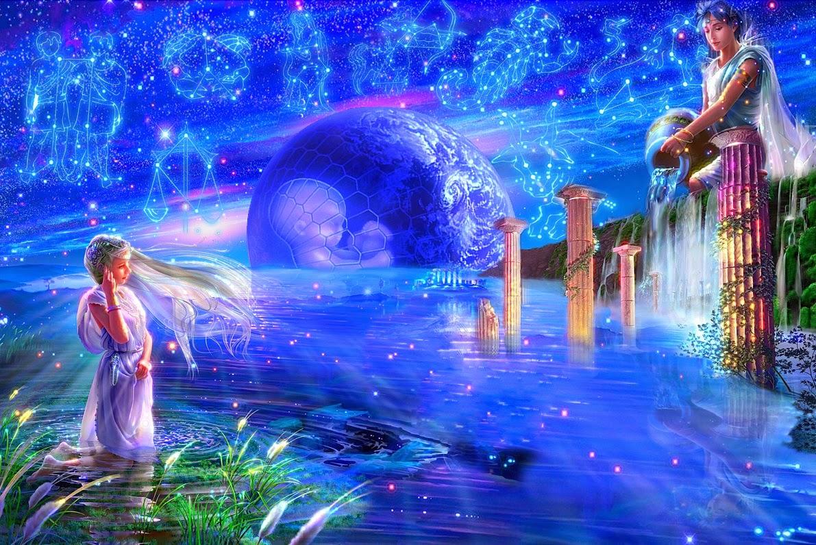 Hình ảnh cung Bảo Bình và dòng nước xanh ngắt