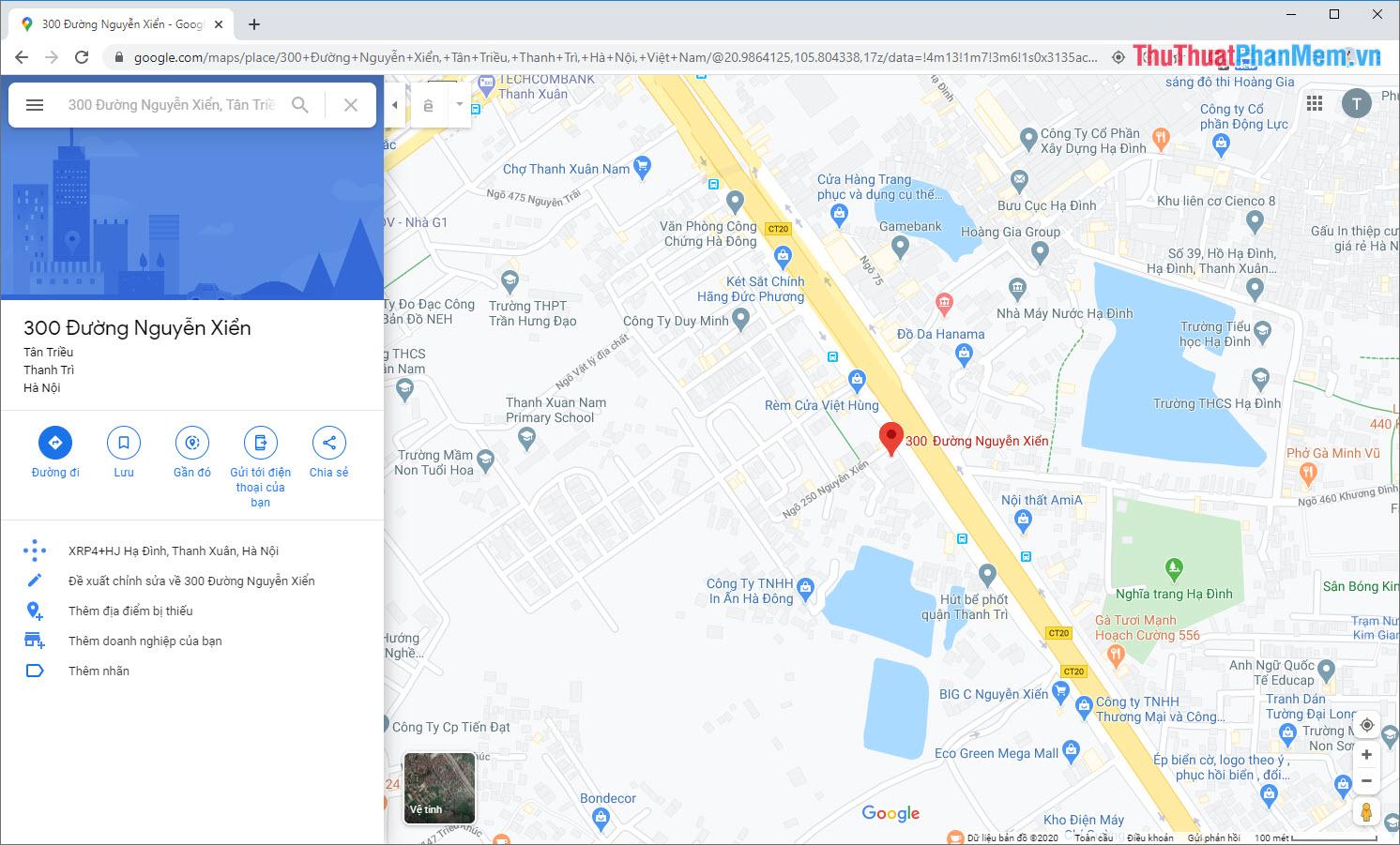 Mở Google Map và nhập địa điểm của vị trí cần lấy tọa độ