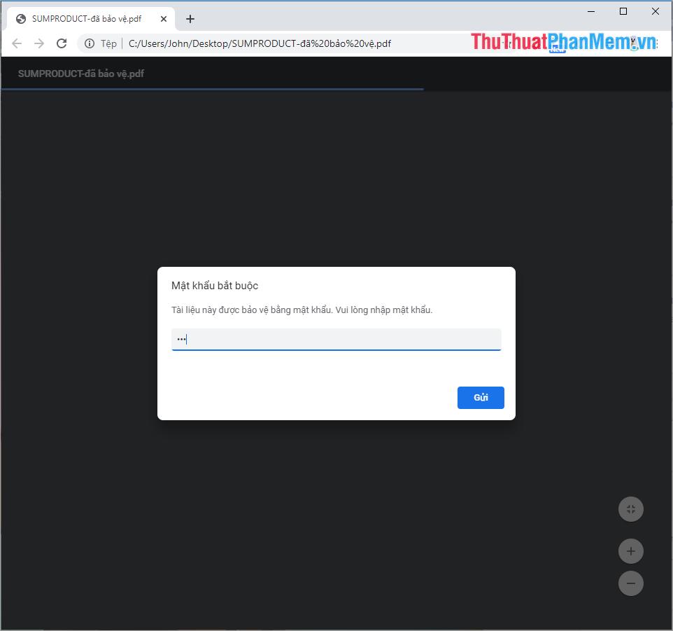 Nhập mật khẩu cho file PDF để mở file