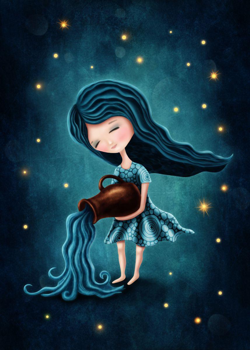 Tranh vẽ cô gái nhỏ bé Bảo Bình cực đẹp