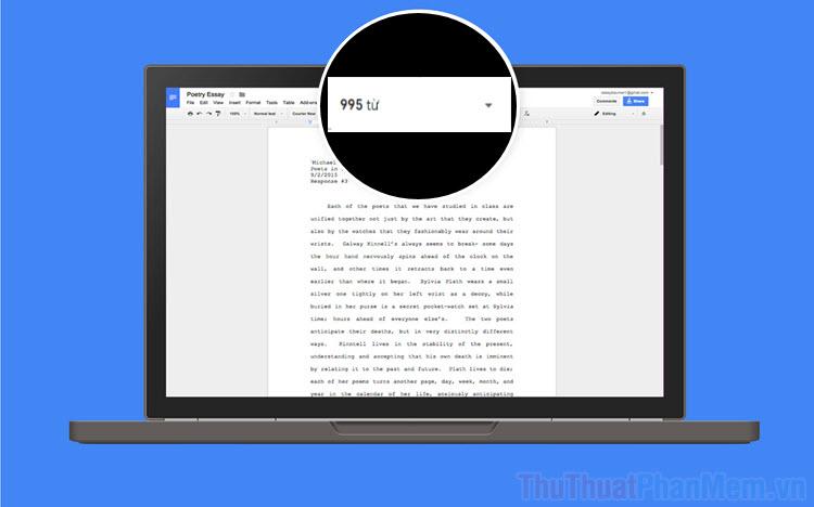 Cách luôn hiện số từ trong khi gõ trong Google Docs