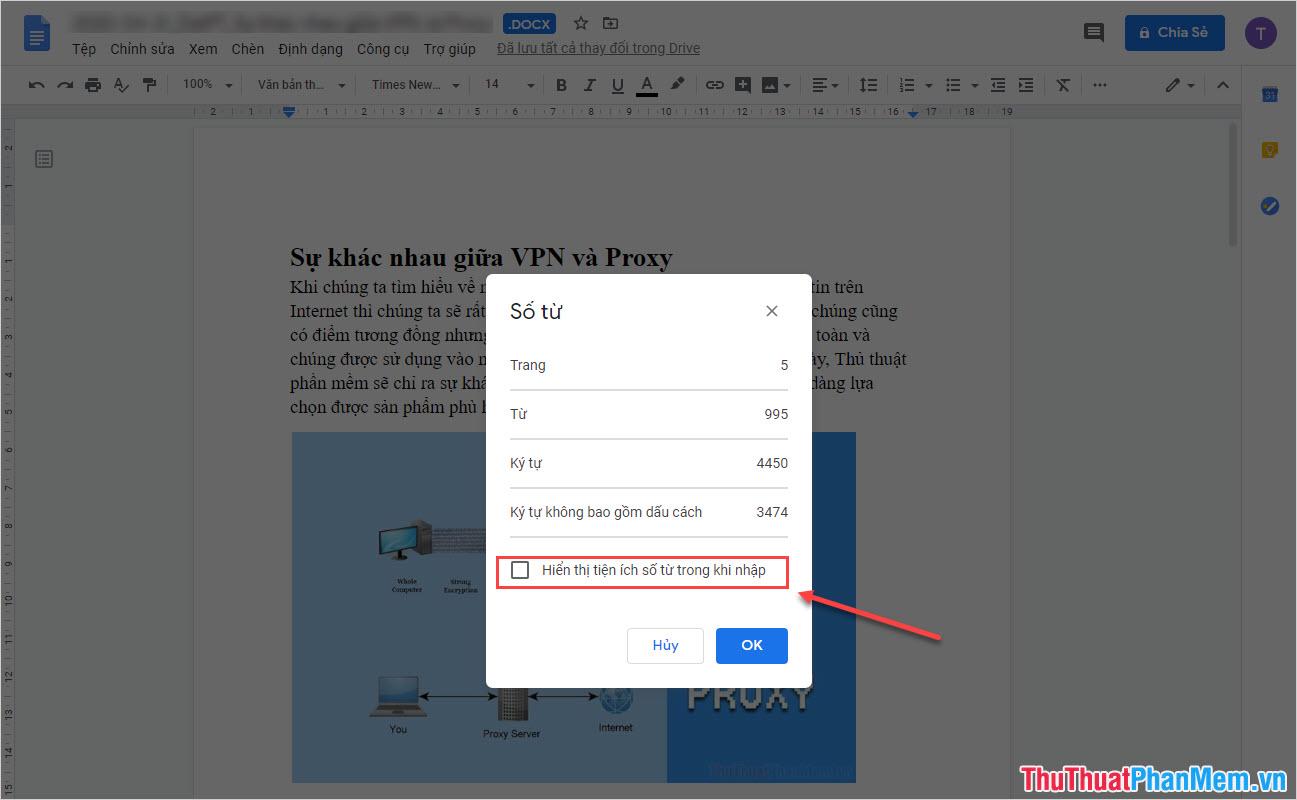Chọn Hiển thị tiện ích số từ trong khi nhập (Display word count while typing)