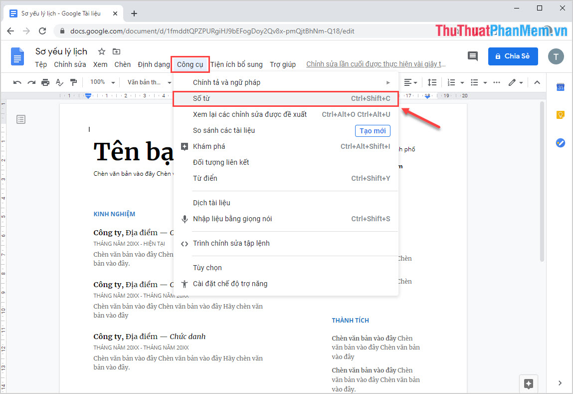 Chọn Số từ (Word count)