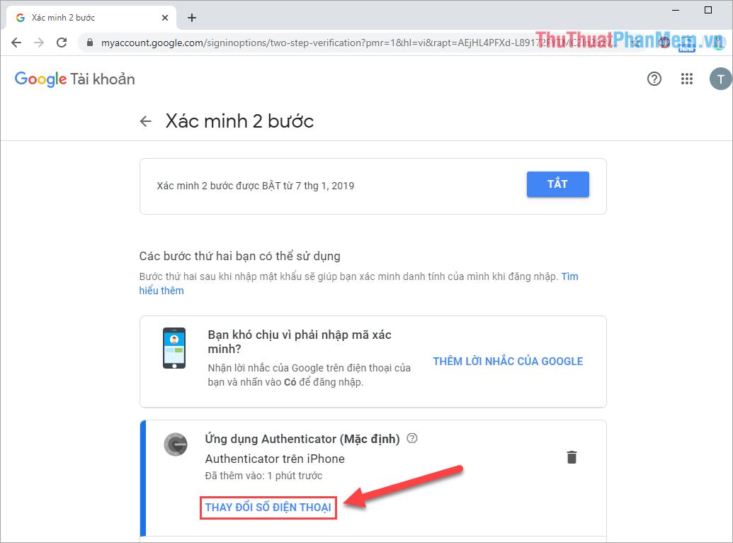Chọn Thay đổi số điện thoại của Ứng dụng Google Authenticator