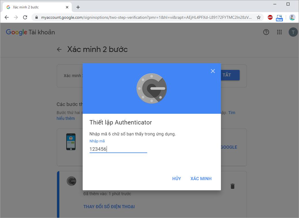 Chọn Xác Minh để hoàn tất việc chuyển dữ liệu từ Google Authenticator sang điện thoại mới