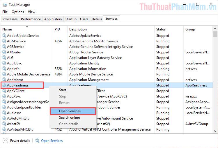 Click chuột phải vào AppReadiness và chọn Open Services
