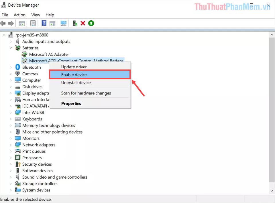 Click chuột phải vào Microsoft ACPI-Compliant Control Method Battery và chọn Enable device