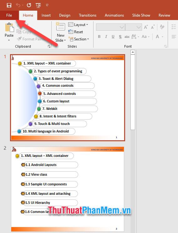 Click mở ribbon File trên thanh công cụ