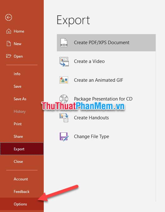 Click vào Options trong danh sách tùy chọn của File