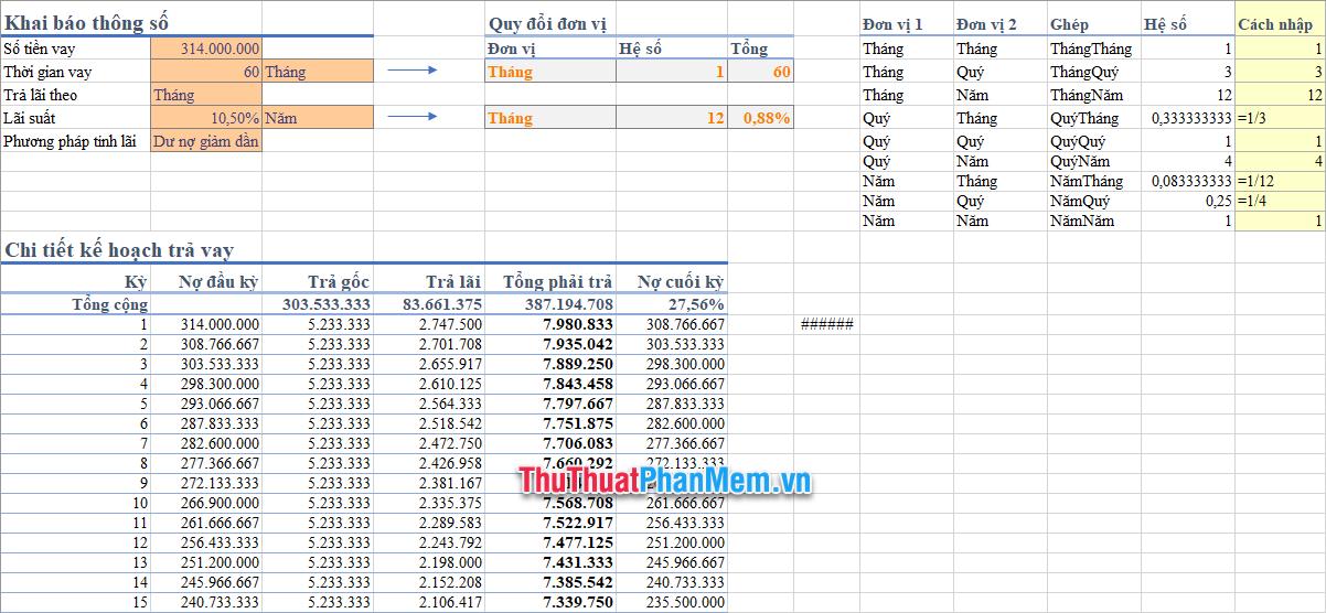 Demo bảng tính lãi vay bằng Excel 2