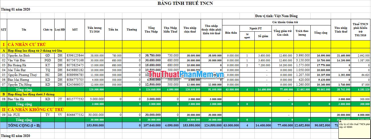 Demo File Excel tính thuế thu nhập cá nhân 5