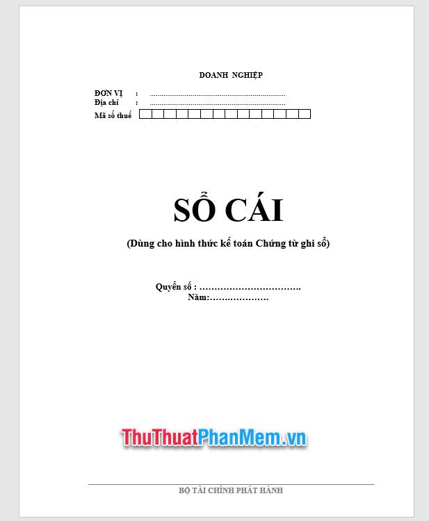 Demo Mẫu bìa sổ quỹ tiền mặt