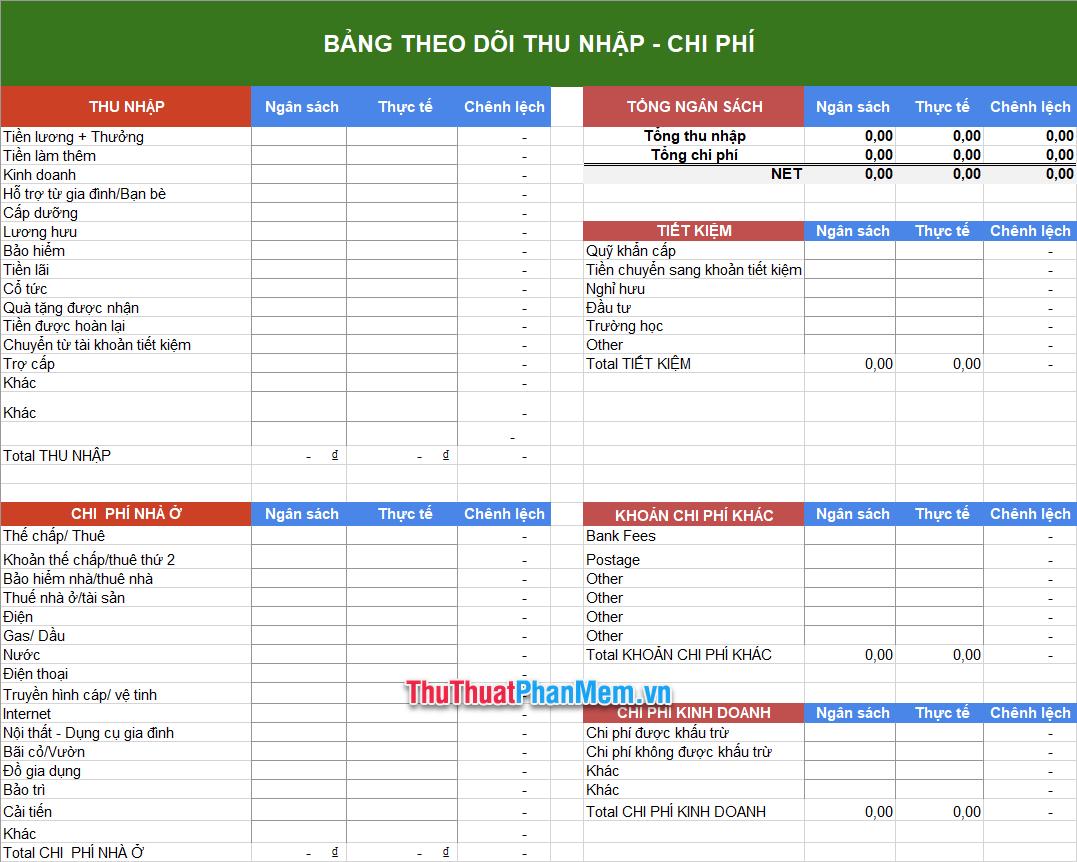 Demo Mẫu kế hoạch chi tiêu gia đình bằng Excel 5