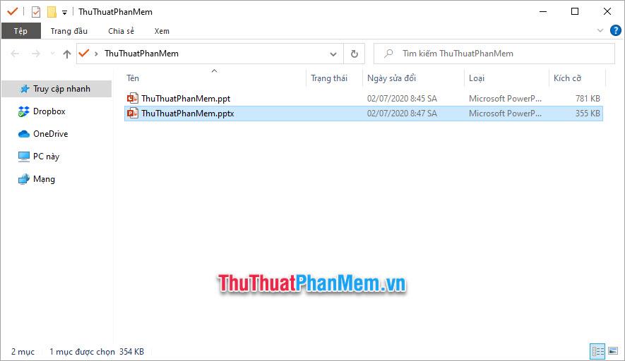 So sánh dung lượng 2 file PowerPoint trước và sau khi đổi đuôi