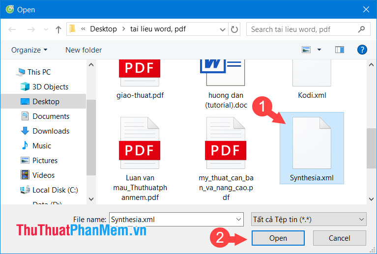 Chọn file XML cần mở rồi click Open