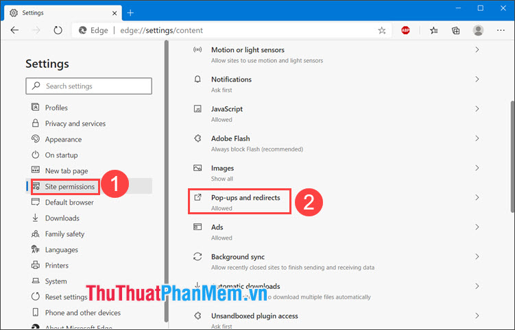 Chọn Pop-ups and redirects