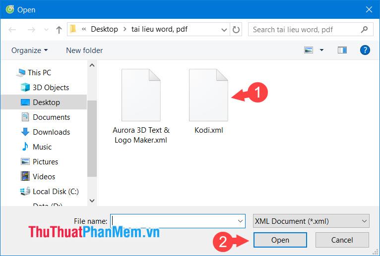 Click vào file XML cần mở rồi chọn Open