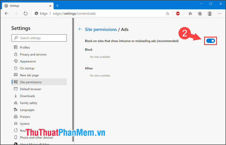 Gạt công tắc Block on sites that show intrusive or misleading ads (recommended) sang On