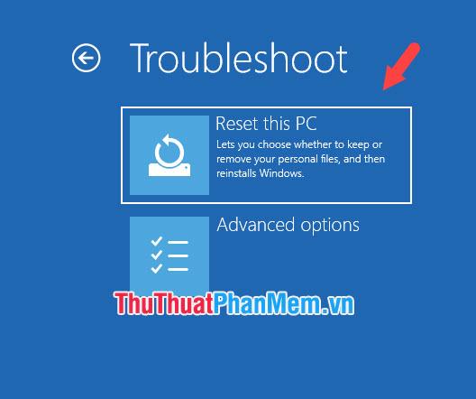Nhấn vào Reset this PC
