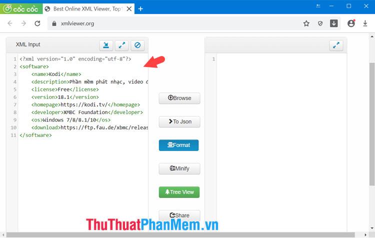 Nội dung file XML của bạn sẽ hiển thị ở phần bên trái
