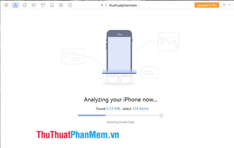 Phần mềm sẽ quét và hiển thị những thông tin về bộ nhớ ảo, file rác trên iPhone