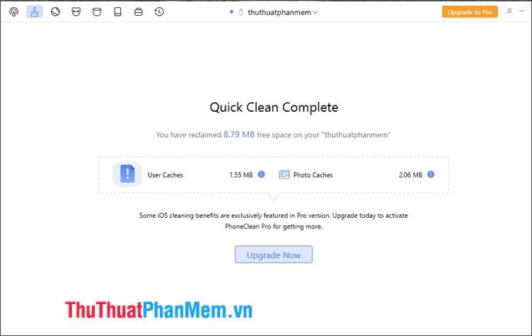 Thông báo Quick Clean Complete hiện lên là thành công