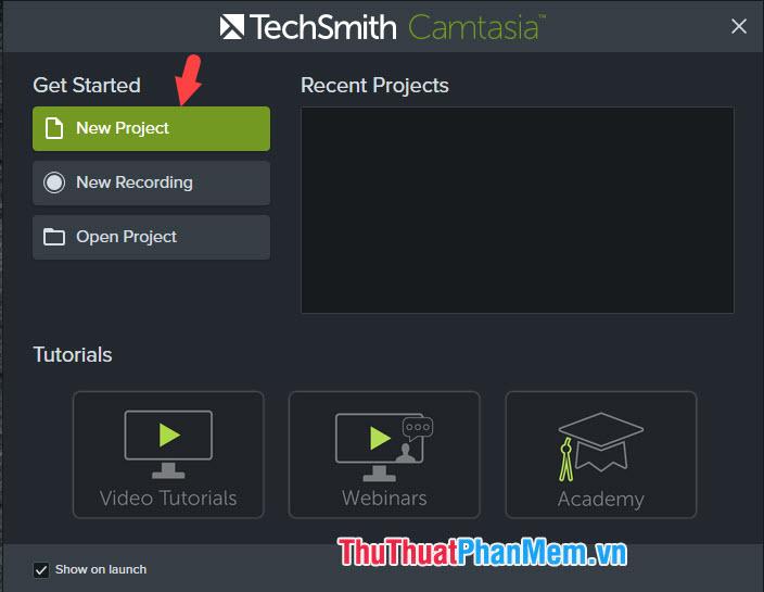 Click vào mục New Project để tạo mới một dự án