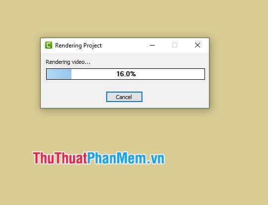 Quá trình render video sẽ diễn ra và bạn nên chờ đợi trong giây lát