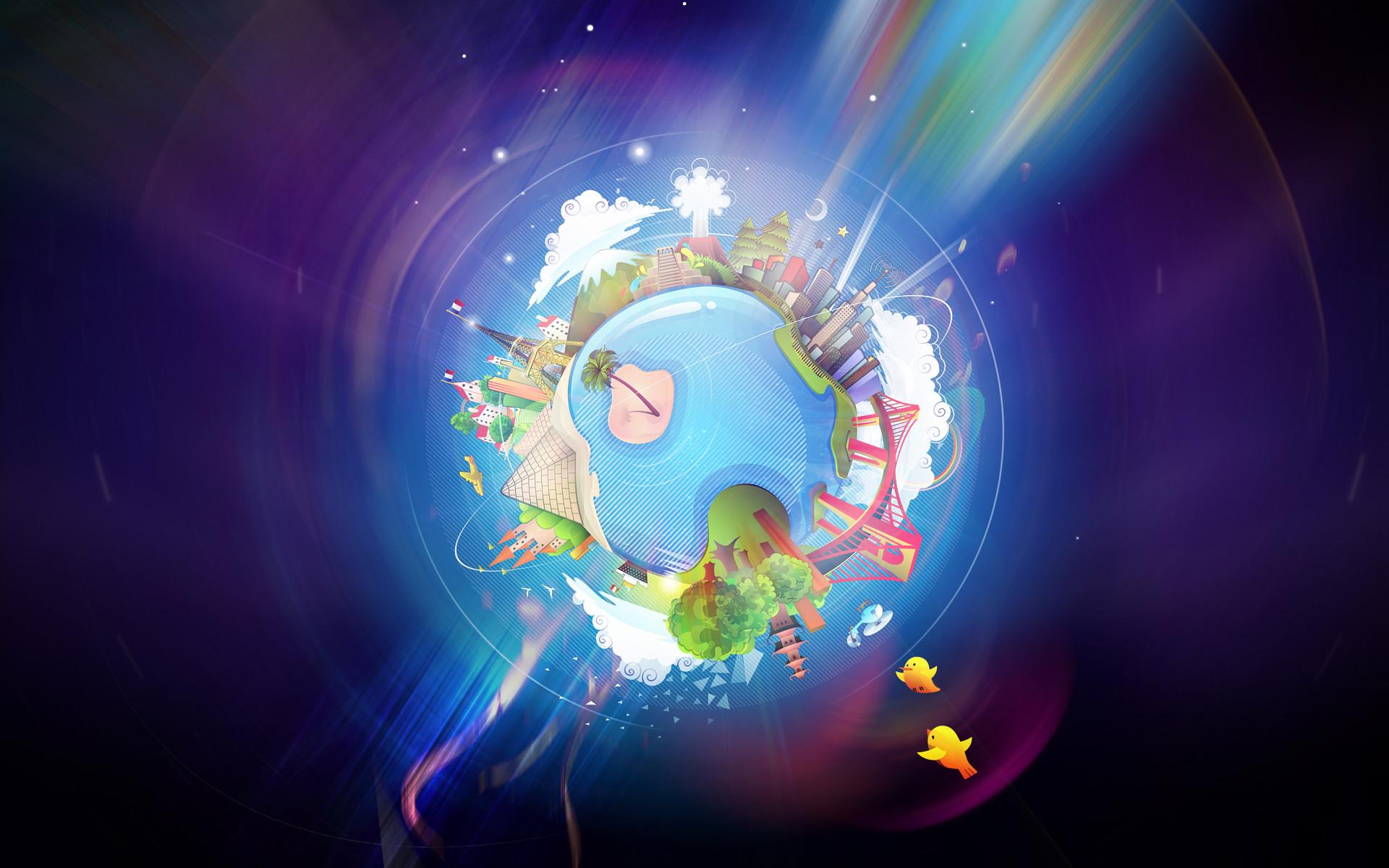 Hình nền trái đất 3D ngộ nghĩnh