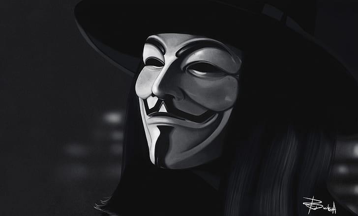 Ảnh Anonymous trắng đen đẹp