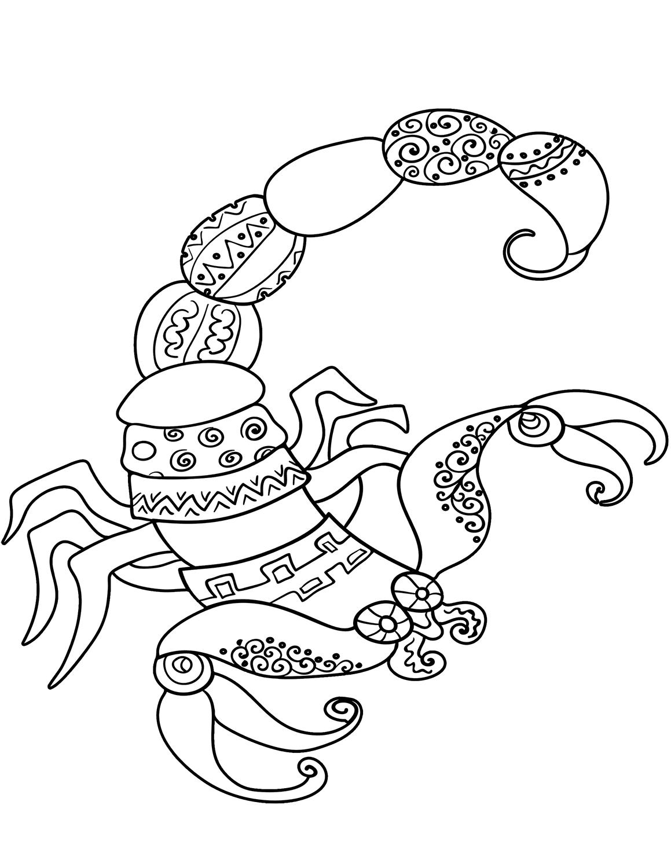 Tranh tô màu cung hoàng đạo Bọ Cạp đẹp