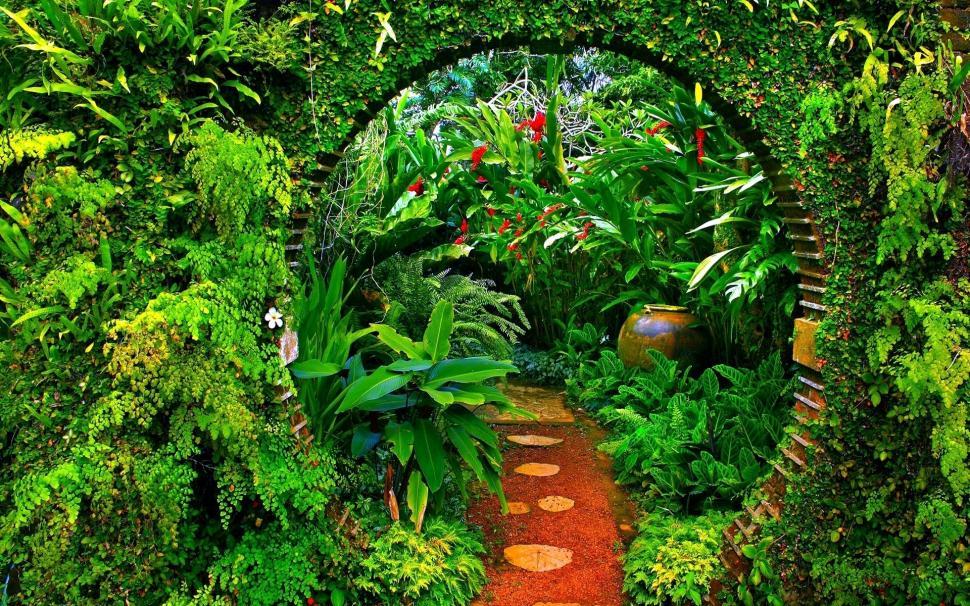 Hình nền khu vườn xanh lá cực đẹp