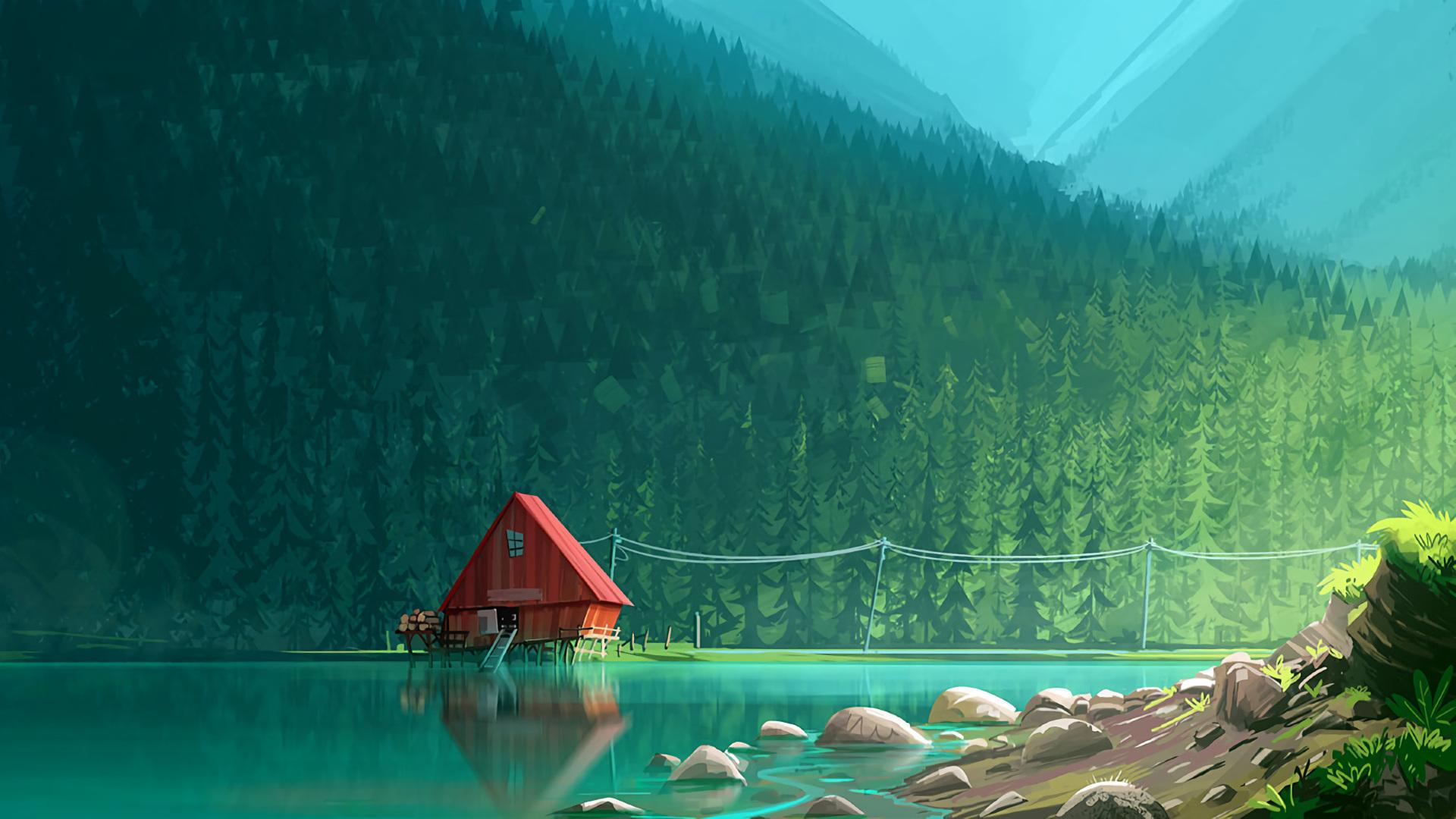 Hình nền ngôi nhà bên khu rừng xanh lá