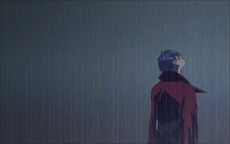Ảnh Anime chàng trai khóc dưới mưa