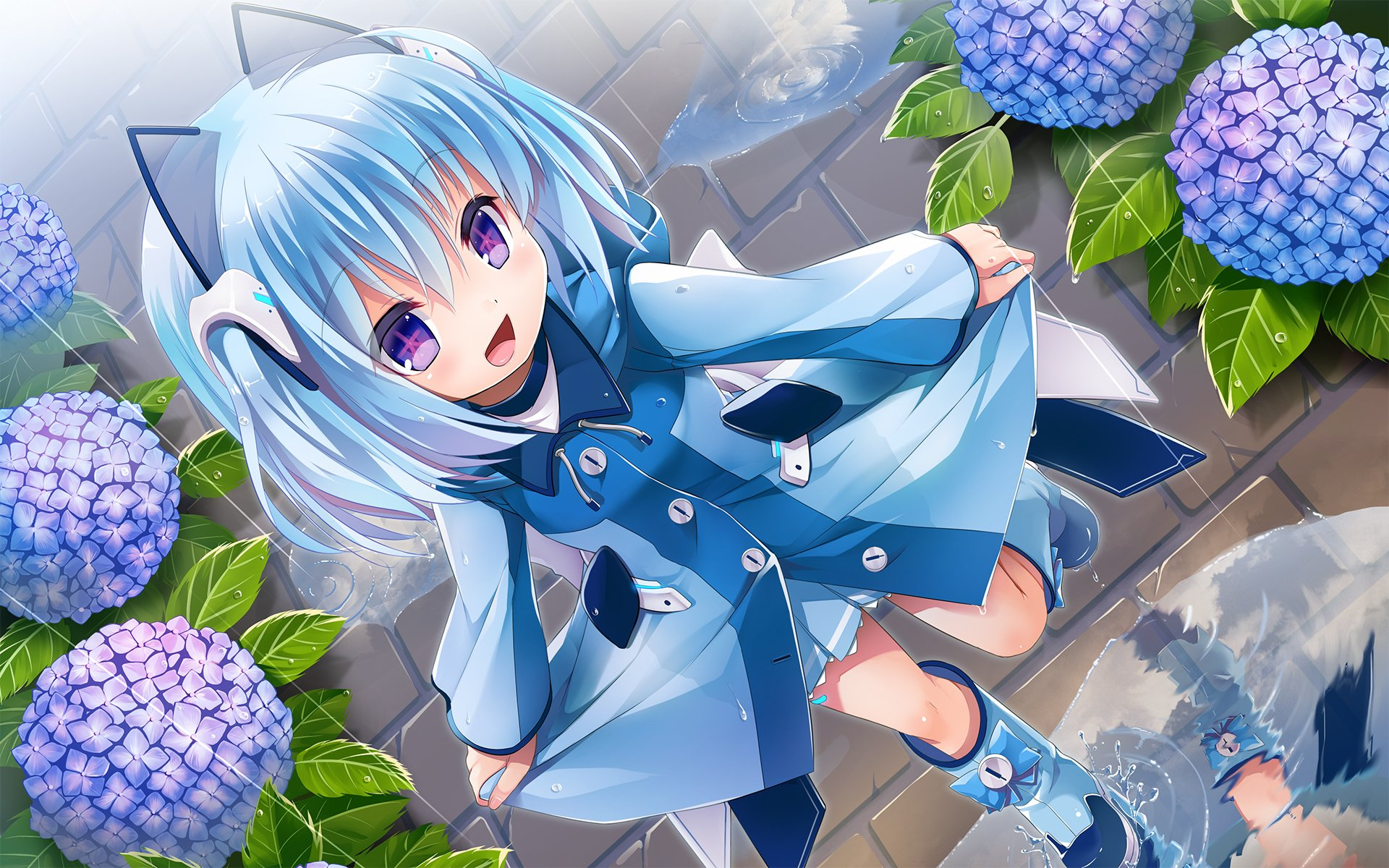 Ảnh anime cô bé tóc xanh dễ thương và đáng yêu