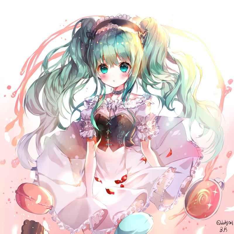 Ảnh anime cô gái tóc màu xanh độc lạ