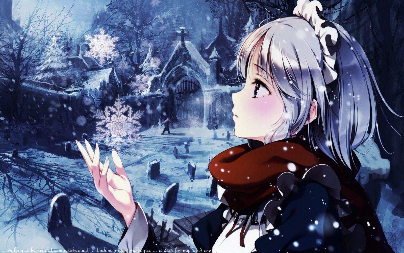 Ảnh anime girl trong mùa đông