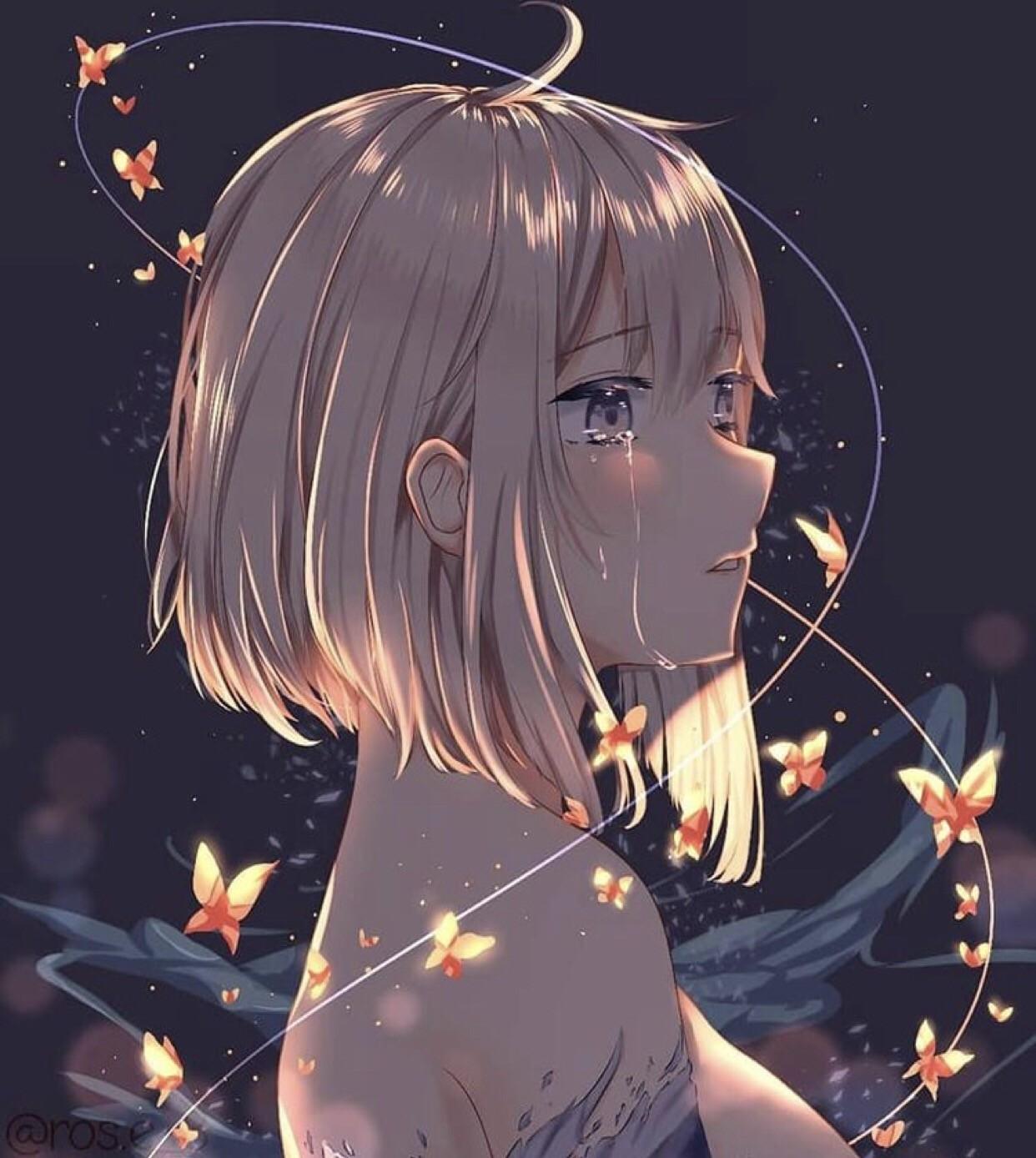 Ảnh Anime khóc buồn đầy tâm trạng