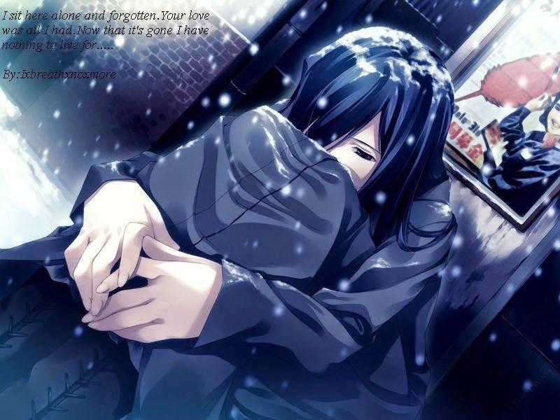 Ảnh Anime ôm gối khóc một mình